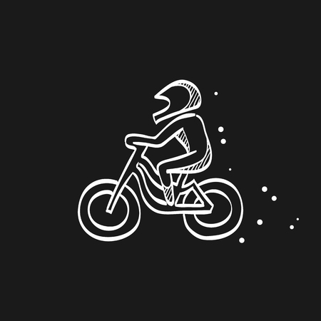 Cycling icon in doodle sketch lines. Road race tour triathlon time trial pursuit sport bicycle