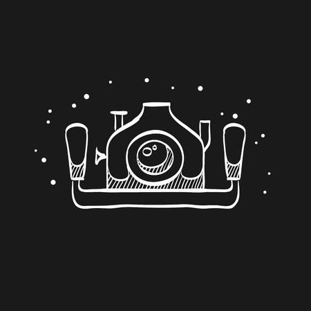 Underwater camera icon in doodle sketch lines. Photography sea water diving animal documentary 版權商用圖片 - 112182109