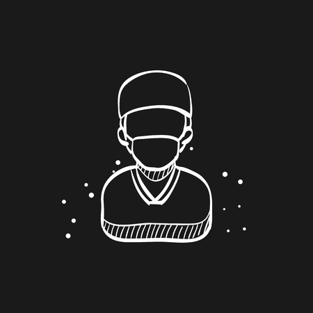 Surgeon icon in doodle sketch lines. Medical surgery doctor plastic operation