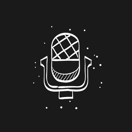 Microphone icon in doodle sketch lines.
