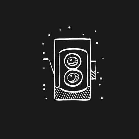 Twin lens reflex camera icon in doodle sketch lines. Vintage retro photography photo mechanical analog film shooting
