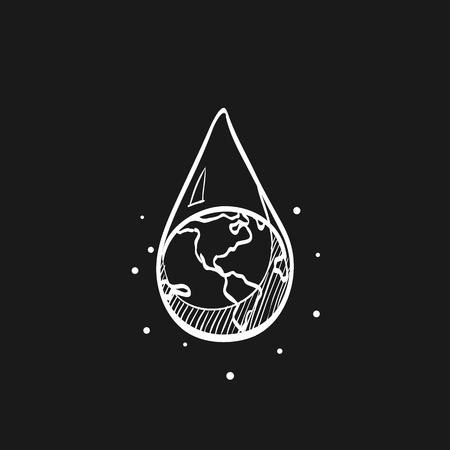 Icône de goutte d'eau de terre dans les lignes de croquis de doodle. Changement climatique, conservation