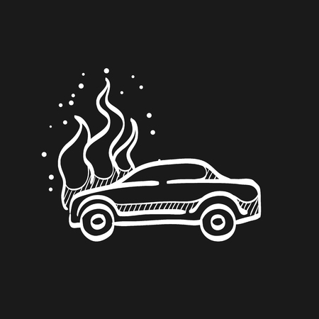 Car on fire icon in doodle sketch lines. Automotive transportation accident accident burned insurance claim Illustration