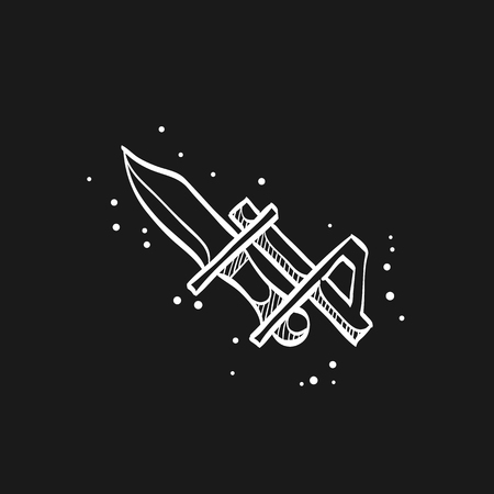 Bayonet knife icon in doodle sketch lines. Weapon vintage riffle assault army war battle danger dagger 写真素材 - 112184499