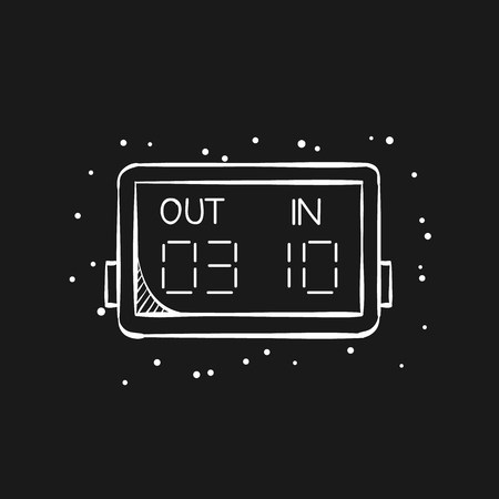 Player substitution board icon in doodle sketch lines. Football soccer game playing match tournament