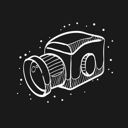 Camera icon in doodle sketch lines. Vintage retro photography photo mechanical analog film shooting medium format Ilustração