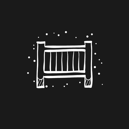 Baby bed icon in doodle sketch lines. Furniture bedroom sleep comfort safety care Illustration