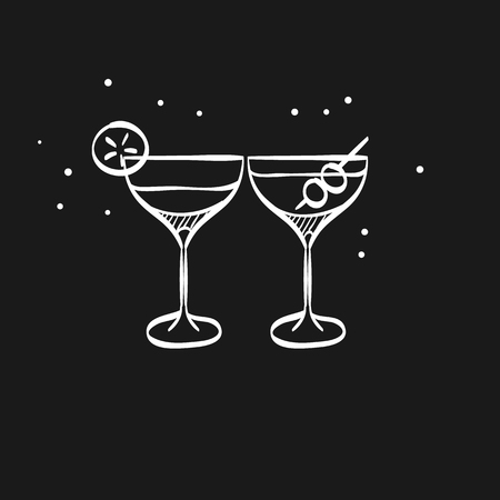 Wine glass icon in doodle sketch lines. Celebration couple drinking martini cocktail