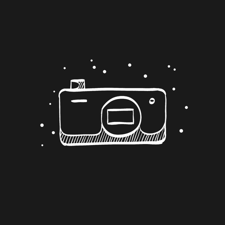 Camera icon in doodle sketch lines. Photography picture electronic imaging pocket compact affordable cheap