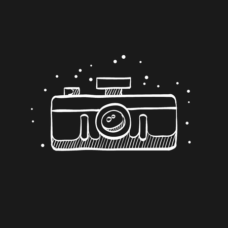 Panorama camera icon in doodle sketch lines. Landscape nature architecture photography lens Vectores