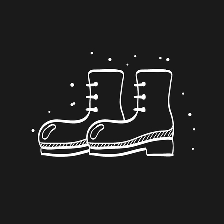 Boot icon in doodle sketch lines. Footwear outdoor outwear gear army military clothing