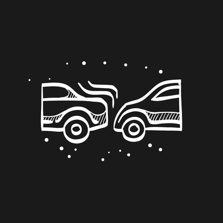Car crash icon in doodle sketch lines. Automotive accident incident insurance claim
