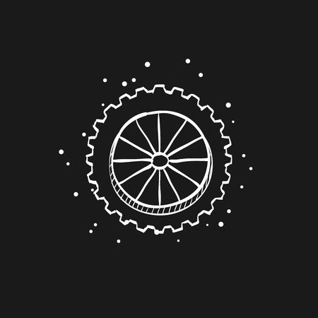Motorcycle tire icon in doodle sketch lines. Motorcycle motorbike wheel transportation offroad terrain