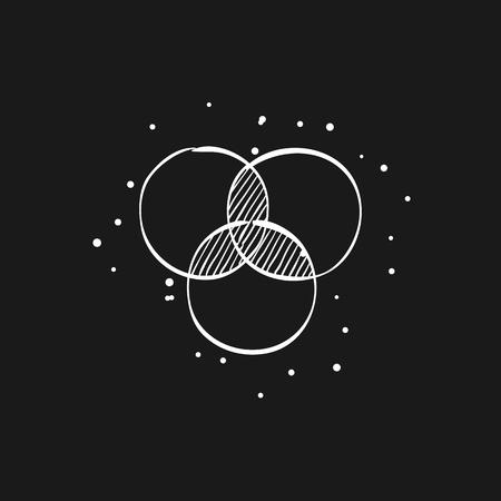 Color wheels icon in doodle sketch lines. Vector illustration. Illustration