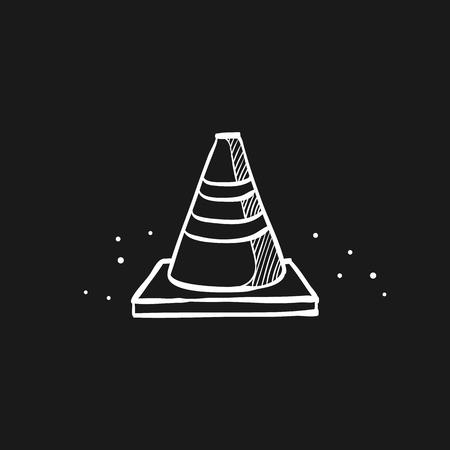 Road sign cone icon in doodle sketch lines. Danger forbidden plastic transportation  イラスト・ベクター素材
