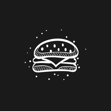 Burger icon in doodle sketch lines. Fast food junk American carbohydrate eating