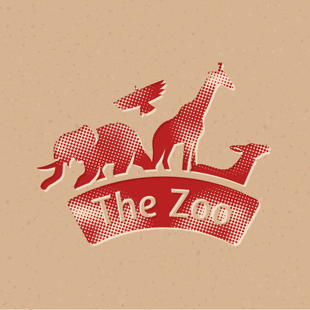 Zoo gate icon in halftone style. Grunge background vector illustration.