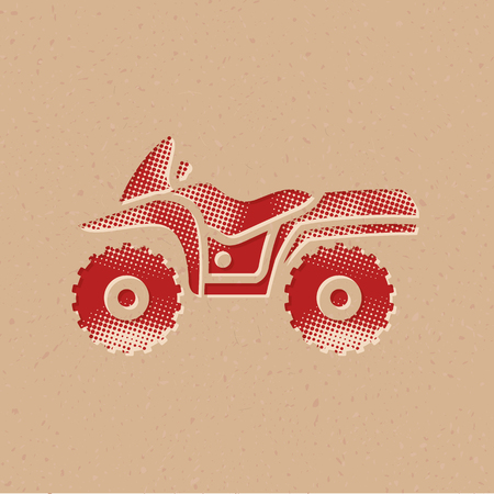 All terrain vehicle icon in halftone style. Grunge background vector illustration.