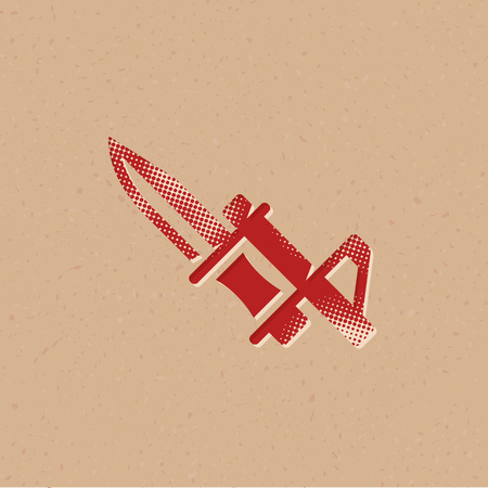Bayonet knife icon in halftone style. Grunge background vector illustration.