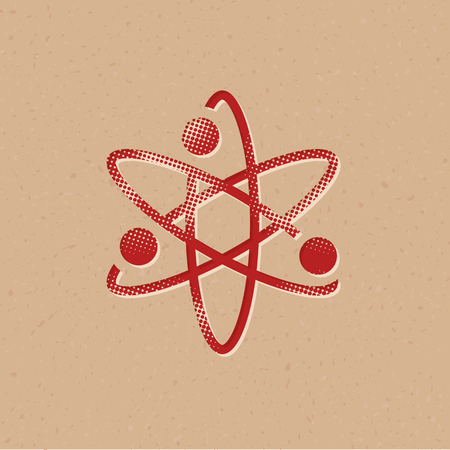 Atom structure icon in halftone style. Grunge background vector illustration.