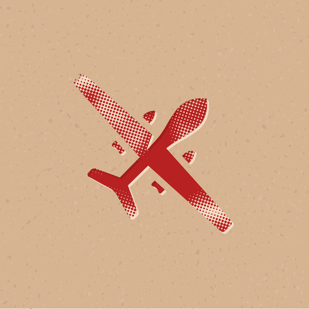 Unmanned aerial vehicle icon in halftone style. Grunge background vector illustration.