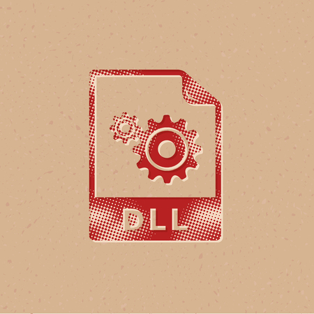 System file format icon in halftone style. Grunge background vector illustration.