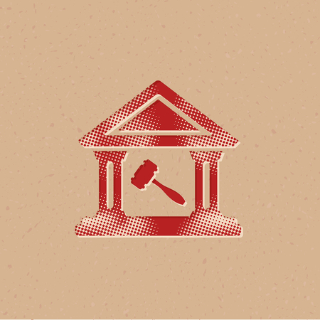 Auction house icon in halftone style. Grunge background vector illustration.