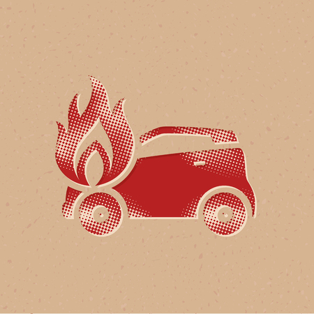 Car on fire icon in halftone style. Grunge background vector illustration. Vector Illustration