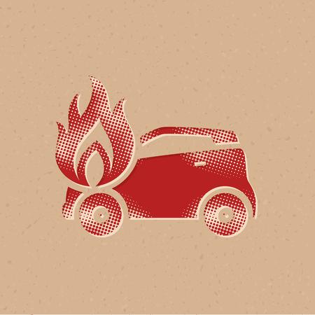 Icono de coche en llamas en estilo de semitono. Ilustración de vector de fondo grunge. Ilustración de vector