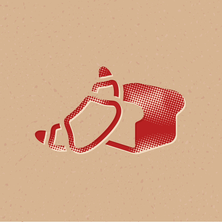 Bakery icon in halftone style. Grunge background vector illustration.