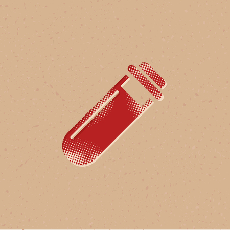 Test tube icon in halftone style. Grunge background vector illustration. Stock Illustratie