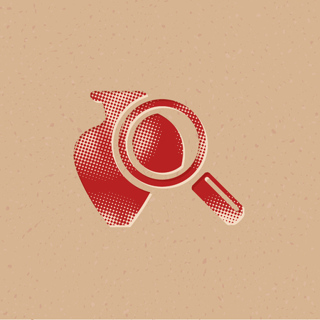 Vase and magnifier icon in halftone style. Grunge background vector illustration.