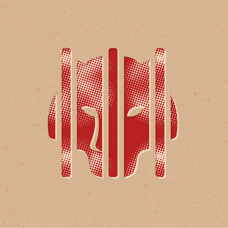 Caged animal icon in halftone style. Grunge background vector illustration.