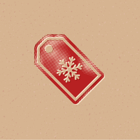 Winter Sale label icon in halftone style. Grunge background vector illustration.