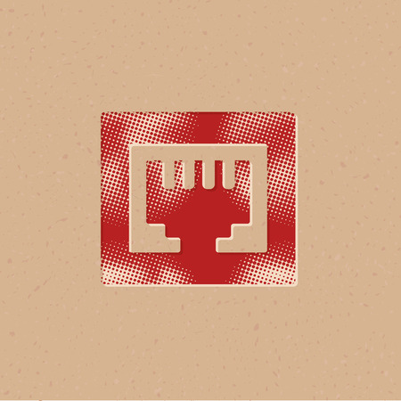 Local area connector icon in halftone style. Grunge background vector illustration.
