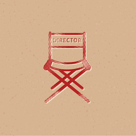 Movie director chair icon in halftone style. Grunge background vector illustration. Illustration