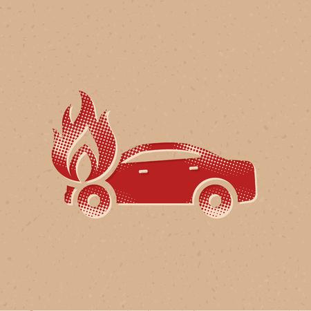 Auto auf Feuer-Symbol im Halbton-Stil. Grunge-Hintergrund-Vektor-Illustration.