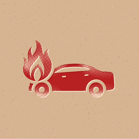 Car on fire icon in halftone style. Grunge background vector illustration.