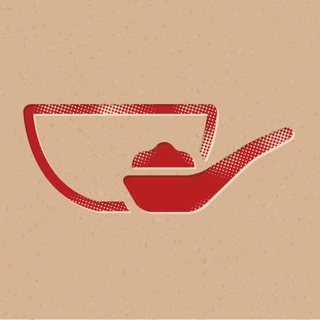 Porridge bowl icon in halftone style. Grunge background vector illustration.