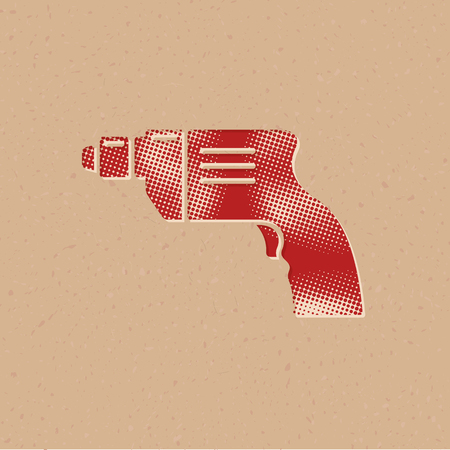 Electric drill icon in halftone style. Grunge background vector illustration.