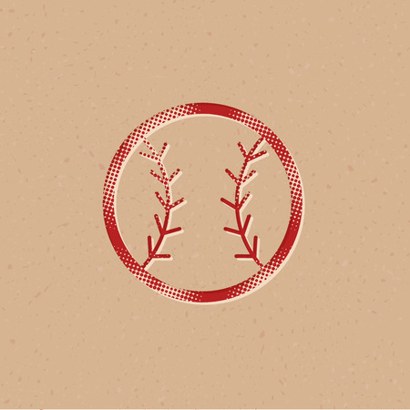Baseball icon in halftone style. Grunge background vector illustration.