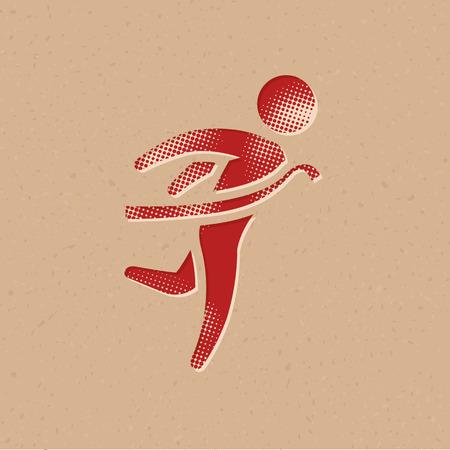 Icône de ligne d'arrivée dans le style de demi-teinte. Illustration vectorielle de fond grunge.