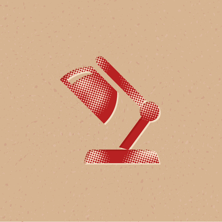 Table lamp icon in halftone style. Grunge background vector illustration.