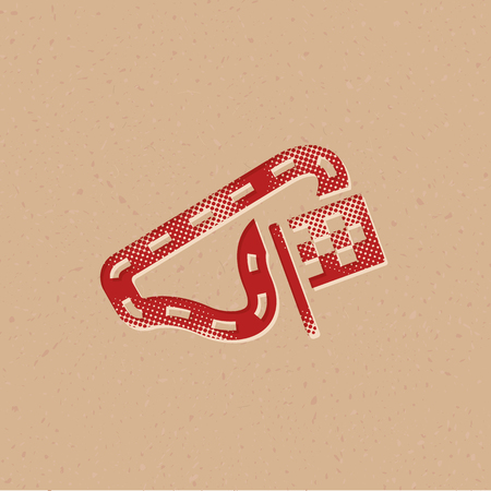 Race circuit icon in halftone style. Grunge background vector illustration. Ilustrace