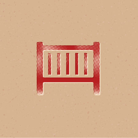 Baby bed icon in halftone style. Grunge background vector illustration. Illustration