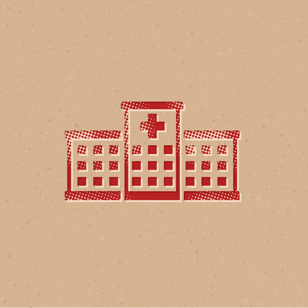 Hospital building icon in halftone style. Grunge background vector illustration.