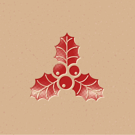 Holly leaves icon in halftone style. Grunge background vector illustration. 일러스트