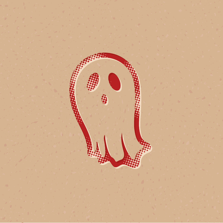 Halloween ghost icon in halftone style. Grunge background vector illustration.