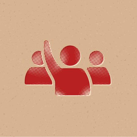 People raise hand icon in halftone style. Grunge background vector illustration. Vektorgrafik