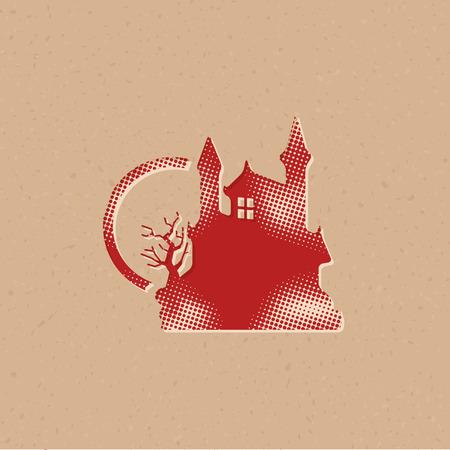 Icono de castillo oscuro en estilo de semitono. Ilustración de vector de fondo grunge.
